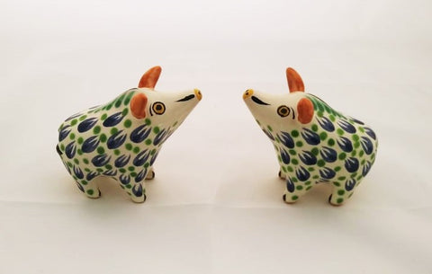 mexican ceramics hand craft majolica decor wildpig figure