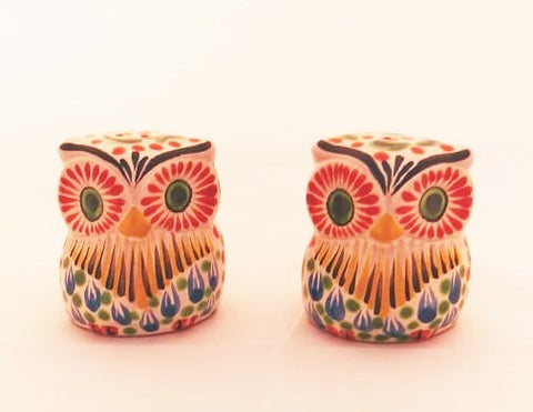 mexican ceramics owl salt and pepper folk art hand painted amazon