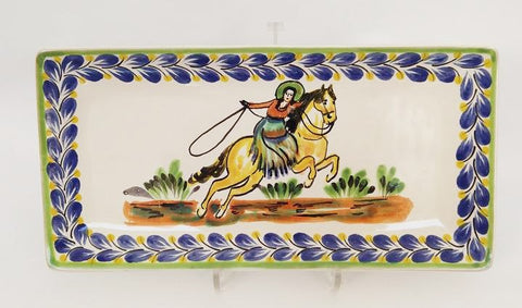 mexican trays pottery folk art hand painted cowgirl mexico