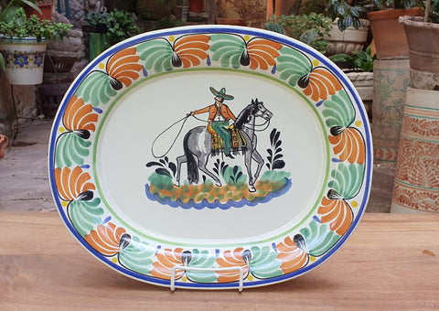 mexican platter cowboy motive hand painted