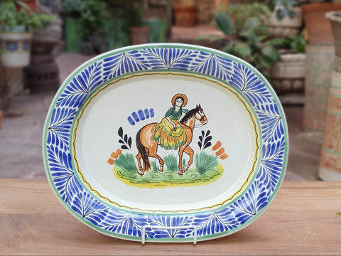 mexican platterss cowgirl charro folk art hand painted decorative