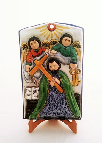 mexican altarpiece folk art saint peter hand painted mexico