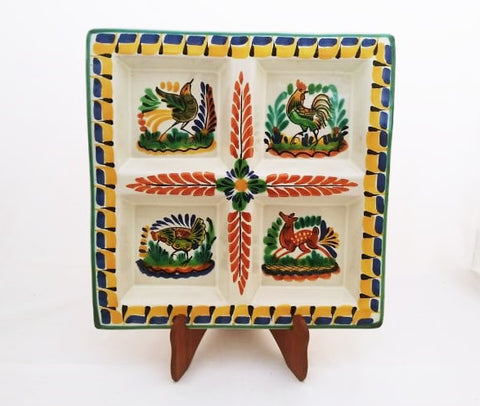 mexican tray snack dish folk art hand painted majolica