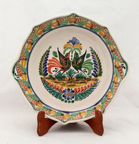 mexican serving platter hand thrown majolica hand made mexico love birds motive