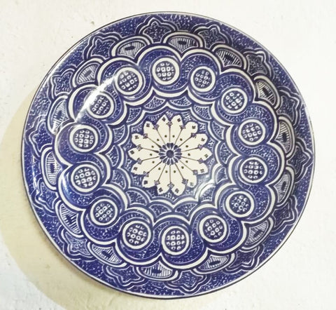 mexican platter folk art hand made hand painted blue gorky gonzalez workshop