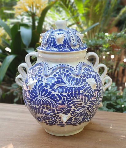 mexican-decorative-Vase-pottery-folk-art-hand-made-hand-wheel-gorky-workshop-blue