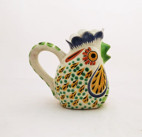 mexican pottery ceramic creamer rooster motive tableware