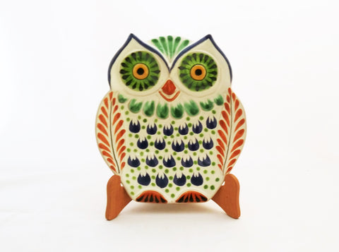 mexican owl snack dish plate pottery ceramic hand made mexico