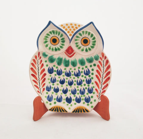mexican ceramic dish snack plate owl shape majolica mexico