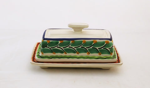 mexican ceramic butter dish folk art mexico