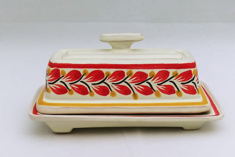 mexican pottery butterdish folk art red collection