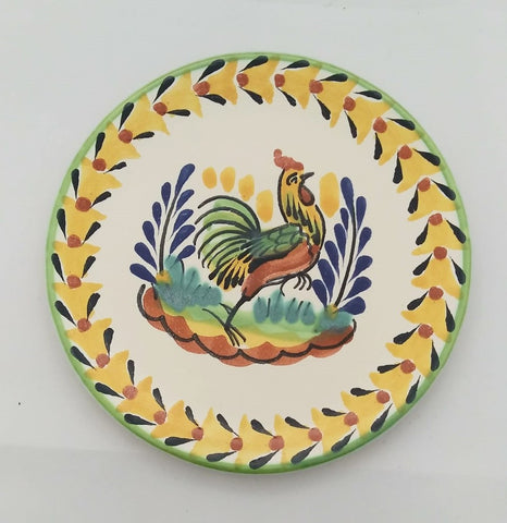 mexican plates creamic folk art hand made rooster motive gorky