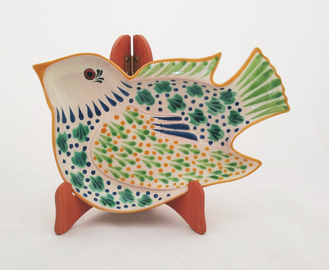 mexican plate pottery bird shape folk art mexico by gorky gonzalez