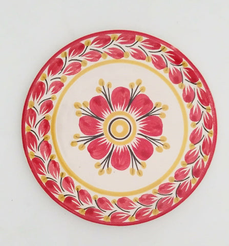 mexican plate bread table top red flower motive gorky
