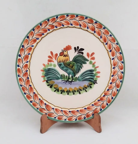 mexican decorative plate folk art hand made rooster motive majolica gorky