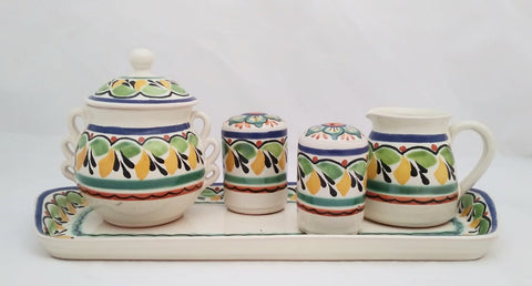mexican table top hand made folk art sugar and creamer set gorky workshop