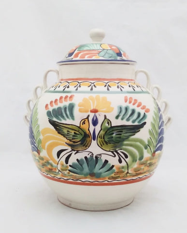 Mexican Decorative Vase Pottery hand made bird motive folk art by gorky gonzalez workshop