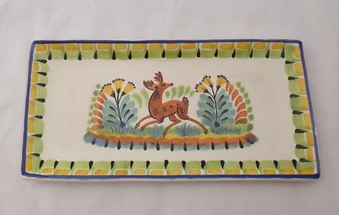 mexican plates folk art hand painted tray deer motive