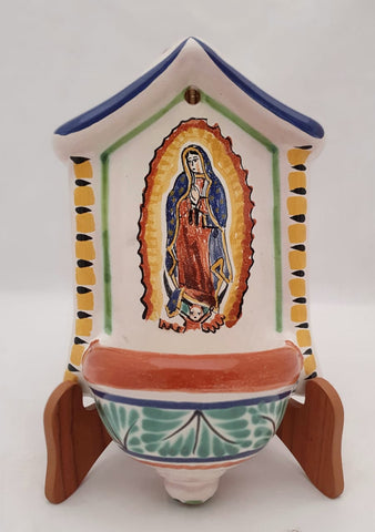 mexican altar piece lady of guadalupe folk art hand painted gorky