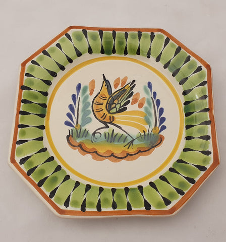 mexican plate potery folk art hand thrown biid motive