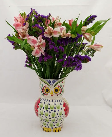 mexican pottery decorative owl flower vase multicolors folk art mexico