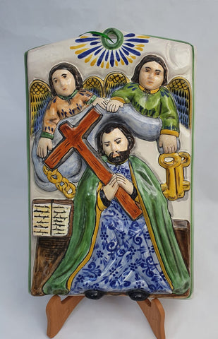 mexican altarpiece folk art hand painted saint pedro amazon mexico