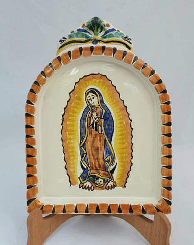 lady of gudalupe altar piece pottery folk art hand painted by gorky workshop