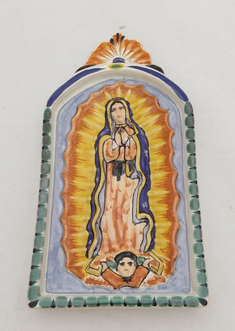mexican folk art hand painted lady of guadalupe