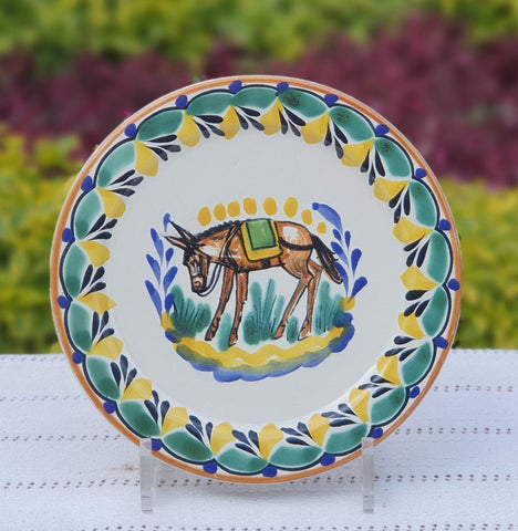 mexican-plates-ceramic-pottery-hand-made-mexico-tableware-donkey-pattern