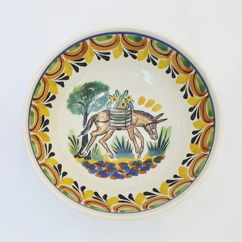mexican cereal bowl folk art hand painted donkey motive
