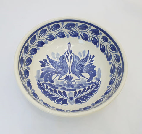 mexican bowls pottery folk art cereal bowl blue