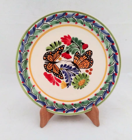 mexican plates hand thrown folk art mexico butterfly motives