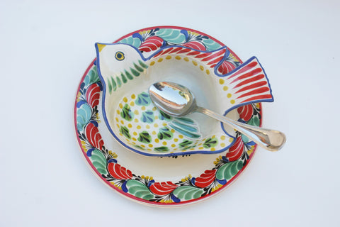mexican plates ideas table top setting bird motive folk art