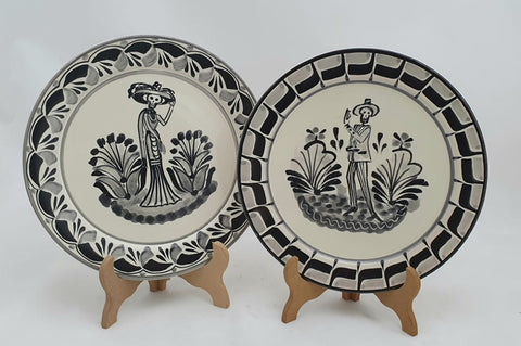 mexican plates salad plates catrina motive folk art hand thrown amazon mexico gorky workshop