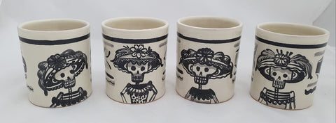 mexican mugs pottery folk art catrina motive hand painted hand made in mexico by gorky