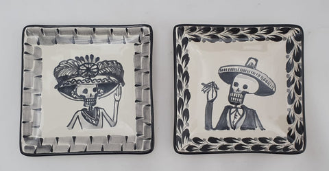 mexican plates folk art hand painted catrina motive mexico
