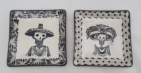 mexican tapa plates square catrina motive folk art mexico