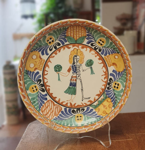 mexican wall platter live and dead motive mexican motives folk art hand painted