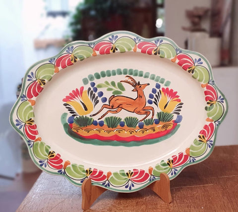 mexican tray pottery folk art deer motive hand painted by gorky workshop