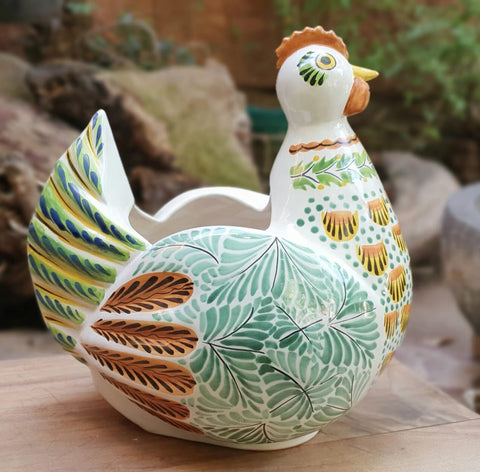 mexican pottery hen planter folk art hand painted