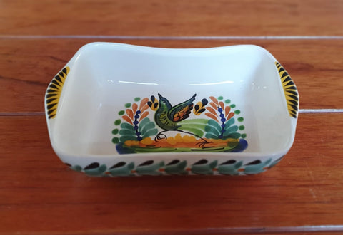 mexican rectangular bowl folk art hand painted workshop guanajuato mexico