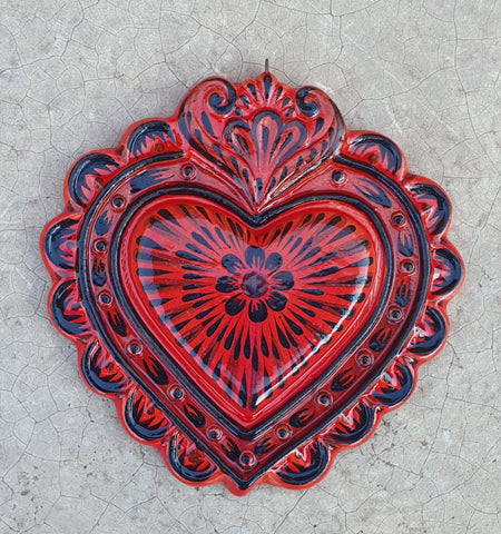 mexican pottery heart ornament hand painted