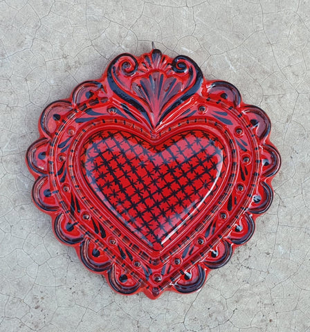 mexican pottery love heart ornament hand painted