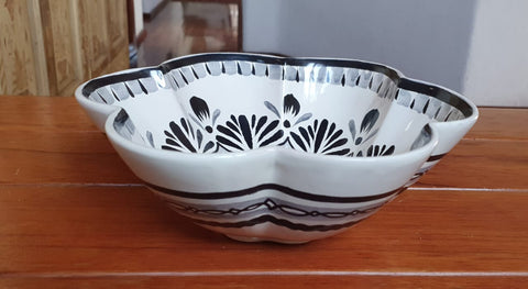 mexican pottery flower salad bowl black by gorky workshop hand craft