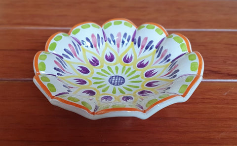 mexican pottery flower plate terracota yellow made in guanajuato by gorky gonzalez