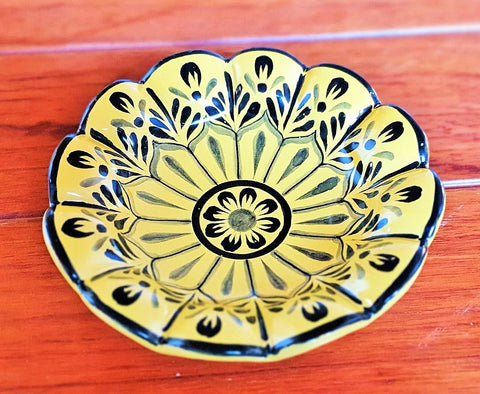 mexican pottery flower plate yellow made in guanajuato by gorky gonzalez