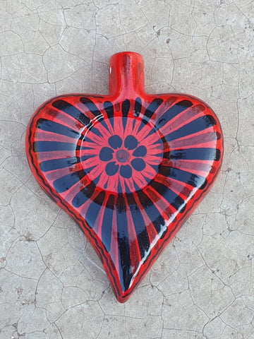 mexican pottery heart ornament by gorky gonzalez hand painted