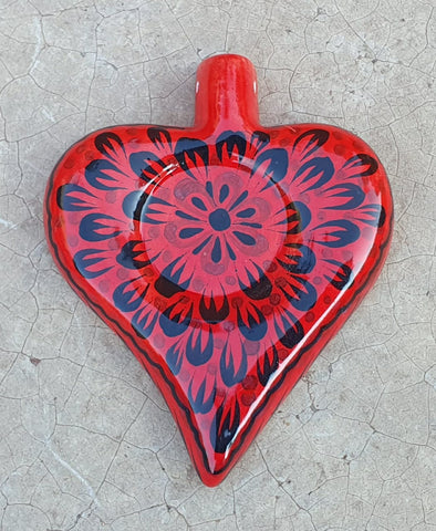 mexican pottery heart ornament by gorky gonzalez art hand painted