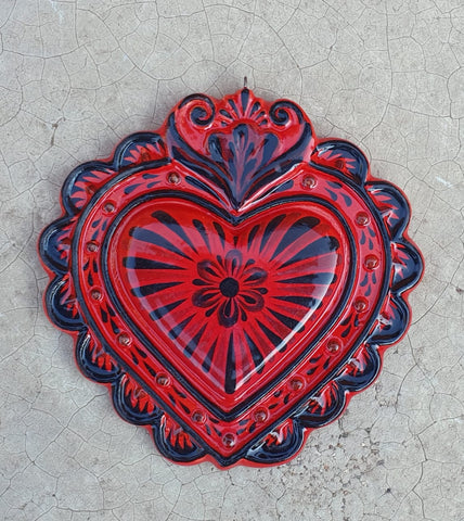 mexican pottery love heart ornament by gorky gonzalez hand made