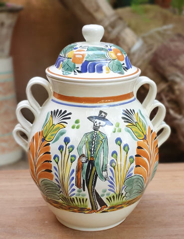 mexico decor pottery catrin motive folk art base